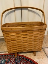 VINTAGE 1994 LONGABERGER MAGAZINE SEWING LARGE BASKET FOODED SINGLE OPEN... - $52.99