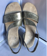 Pre Owned Aerosoles Brasserie Croc Taupe Low Heel Slingback Sandals Size... - $19.95