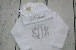 Personalized Newborn Girl Outfit Monogrammed Baby Gown and Hat with Bow Set - $35.99
