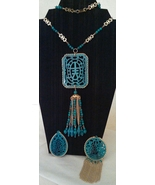 Vintage Interchangeable Turquoise and Gold Chinese Scroll Pendants Neckl... - $36.00