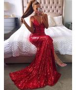 Shiny Red Sequin V-Neck Mermaid Evening Dress Split Formal Prom Party Go... - $136.88