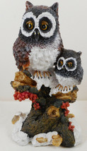 """Owls Perching On Branch Tree Statue Sculpture Figurine 7"""" Resin - $24.74"""