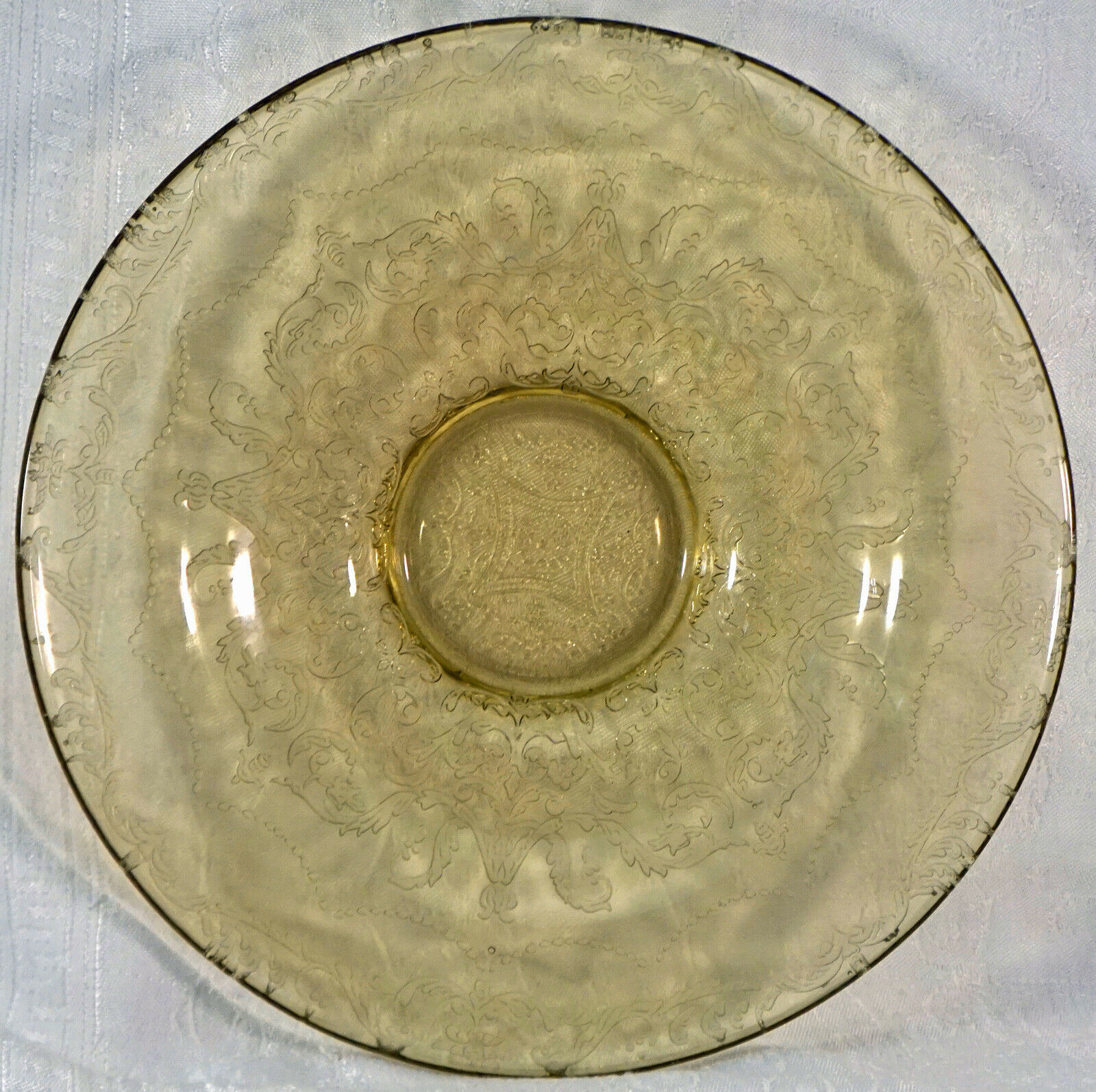 Primary image for Yellow Topaz Raised Etched Pattern Glass Fostoria Bowl Unsure of Pattern