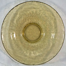 Yellow Topaz Raised Etched Pattern Glass Fostoria Bowl Unsure of Pattern - $49.99