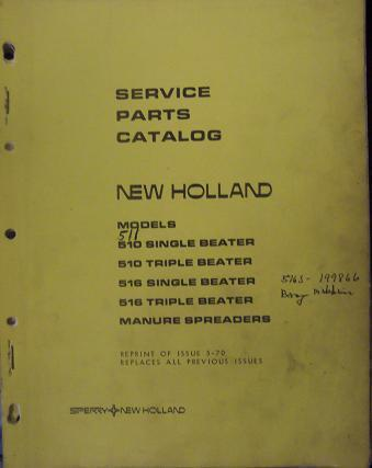 Primary image for New Holland 516, 510 Manure Spreaders Parts Manual