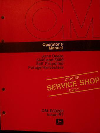 Primary image for John Deere 5440, 5460 Forage Harvesters Operator Manual