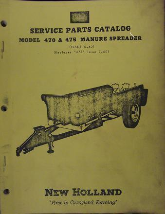 Primary image for New Holland 475, 470 Manure Spreaders Parts Manual