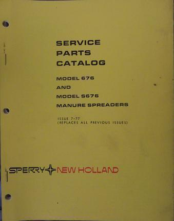 Primary image for New Holland S676, 676 Manure Spreaders Parts Manual