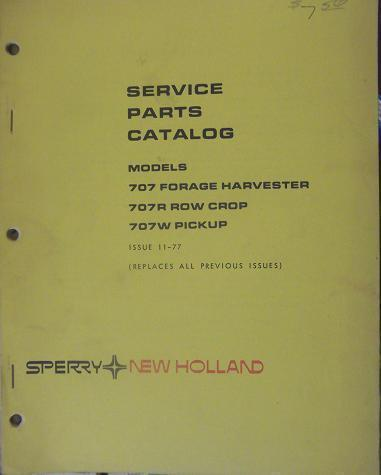 Primary image for New Holland 707 Forage Harvester Parts Manual