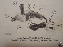 John Deere TY9034, TY9035, TY9036 Electric Drills Owner's Manual - $6.00