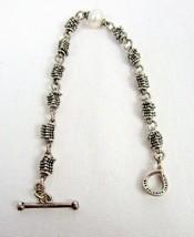 Michael Dawkins Sterling Silver Rondelle Stars Cultured Pearl Bracelet T... - $38.00
