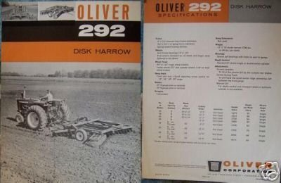 Primary image for 1963 Oliver 292 Disk Harrow Original Specifications Sheet