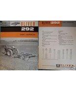 1963 Oliver 292 Disk Harrow Original Specifications Sheet - $8.00