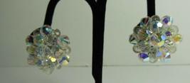 Crystal Clear Aurora Borealis Clip on Earrings - $7.92