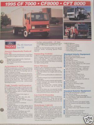 Primary image for 1994 Ford CF Series Cabovers Specifications Sheet - CF7000, CF8000, CFT8000