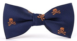 Flairs New York Little Gentleman's Kids Bow Tie Cobalt Blue / Orange Skulls - $6.59