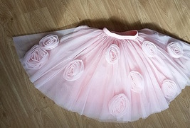 FLOWER CIRCLE Princess Tulle Skirt High Waist Handmade Blush Pink Midi Skirts  image 2