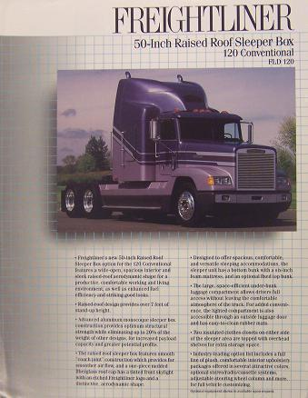 "Primary image for 1990 Freightliner FLD 50"" Raised Roof Sleeper Brochure"