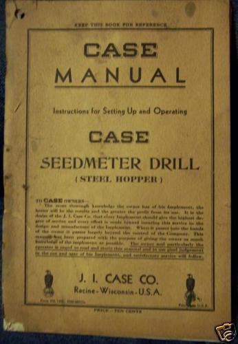 Primary image for Case Seedmeter Horse-Drawn Drills Operator's Manual
