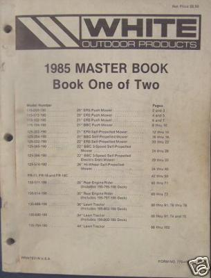 1985 White Lawn & Garden Equipment Master Parts Books