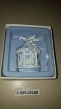 NIB Wedgwood Jasperware Blue Baby's First Christmas 2014 Carousel Orname... - $11.87