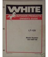 White LT-125 Lawn Tractor Operator's/Parts Manual - $14.00