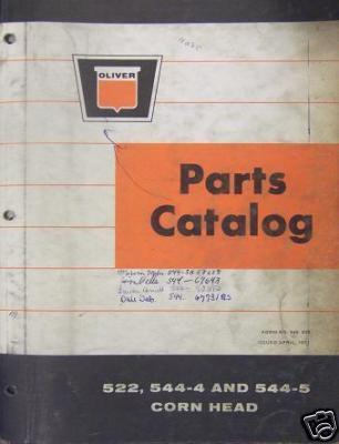 Primary image for Oliver 522,544-4, 544-5 Combine Corn Heads Parts Manual