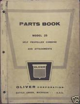 Oliver 25 Combine Parts Manual With Attachments - $32.00