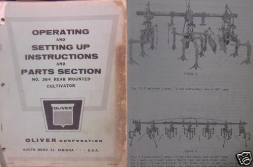 Primary image for Oliver 364 Rear Cultivator Operator and Parts Manual