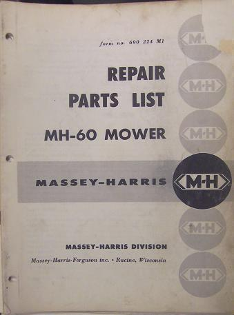 Primary image for  Massey Harris 60 Sickle Mower Parts Manual - 1956