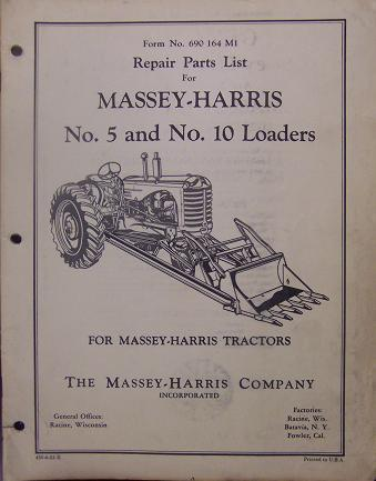 Primary image for Massey Harris 5 and 10 Loaders Parts Manual - Original!
