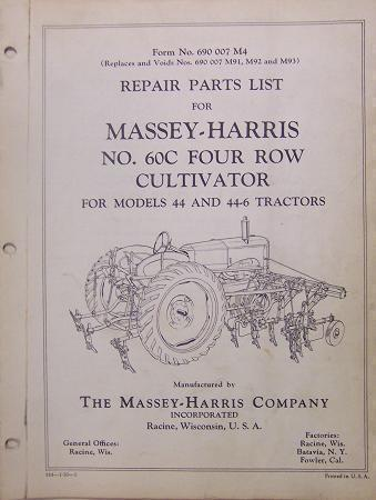 Primary image for Massey Harris 60C Cultivator for 44 Tractor - Parts Manual