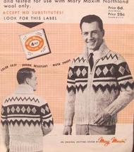 Vintage Mary Maxim Knitting Patterns ADULTS Saranac SWEATER Sizes 38 - 44 - $6.95