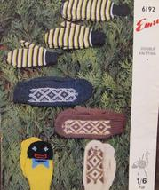 Vintage Emu Double Knitting Patterns Family Mitts Mittens Golliwog Fair Isle - $6.95