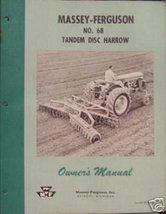 Massey Ferguson 68 Disc Harrow Owner's Manual - 1958 - $12.00