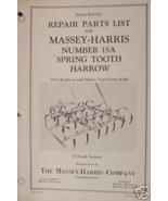 Massey Harris 15A Spring Tooth Harrow Parts Manual - 1944 - $11.00