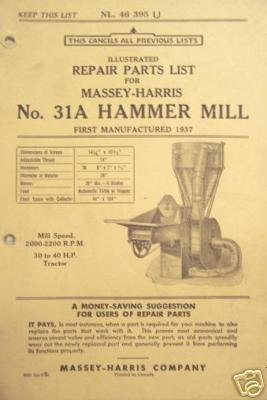 Primary image for Massey Harris No.31A Hammer Mill Parts Manual - 1946