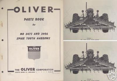 Primary image for Oliver 3472, 3496 Spring Tooth Harrows Parts Manual