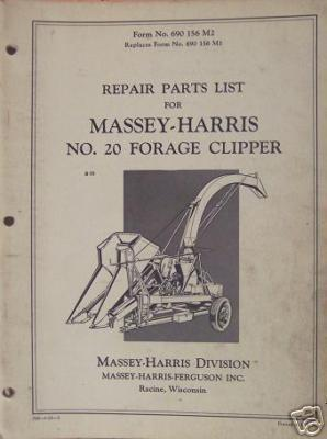 Primary image for Massey Harris 20 Forage Clipper Parts Manual