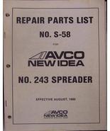 New Idea 243 Manure Spreader Parts Manual - $14.00