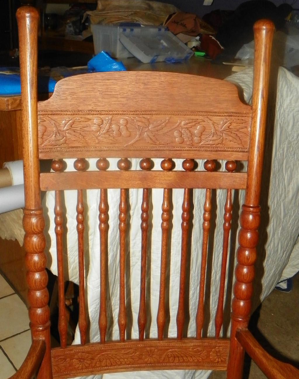 Quartersawn Oak Carved Platform Rocker Rocking Chair