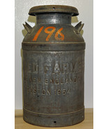 Vintage Metal Dairy Farm Milk Can Container United Farmers of New England Boston - $260.00
