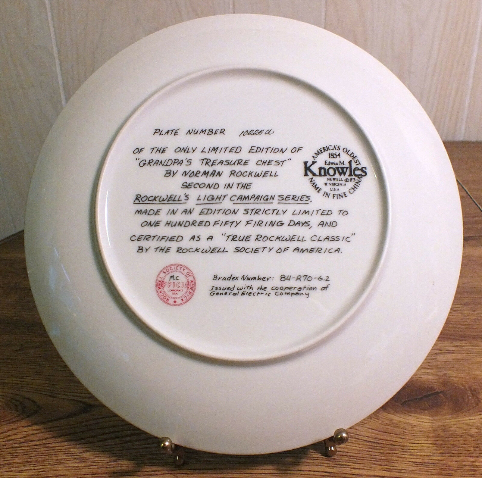 Limited Edition Collector Plate Grandpa's Treasure Chest-Norman Rockwell Knowles
