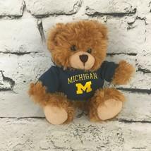 Plushland Teddy Bear Plush Brown Michigan Sweatshirt Sitting Soft Stuffe... - $9.89