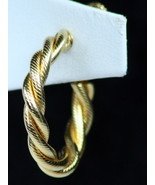 Vintage Napier Signed Earrings Clip Screw On Hoop Gold Tone - $12.00