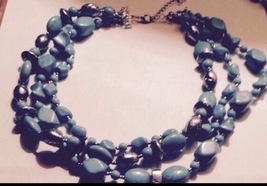 triple strand turquoise beaded necklace: it's never too late to find your isl - $38.99