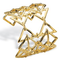 "PalmBeach Jewelry Open Triangle Link Gold Tone Geometric Cuff Bracelet 6"" - $12.45"