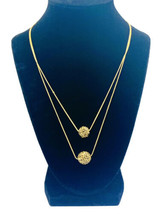 Kenneth Cole Gold Tone Double Strand Crystal Ball Necklace - $23.76