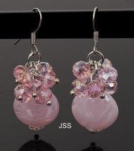 Jss pink lampwork bead earrings 1 thumb200