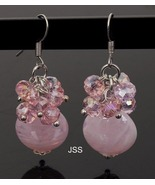 Handmade Pink Disc Lampworks w Crystals Earring - $16.95